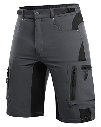 Cycorld MTB Hose Herren Radhose, Mountainbike Hose Fahrradhose Herren Kurz, Schnelltrocknende MTB Shorts Radlerhose Herren Atmungsaktiv Outdoor Bike Shorts (Dunkelgrau, XL)