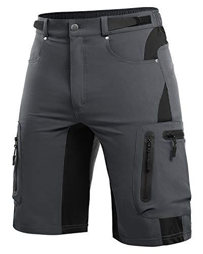 Cycorld MTB Hose Herren Radhose, Mountainbike Hose Fahrradhose Herren Kurz, Schnelltrocknende MTB Shorts Radlerhose Herren Atmungsaktiv Outdoor Bike Shorts (Dunkelgrau, M)