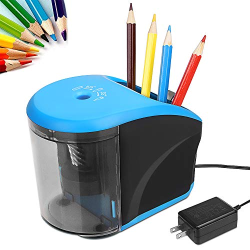 Electric Pencil Sharpener, AC Power Adapter(Include)/Battery Operated Pencil Sharpener with Pencil Holder,Heavy Duty Blade for Colored Pencils,Essential School Supply for Classroom Office Home