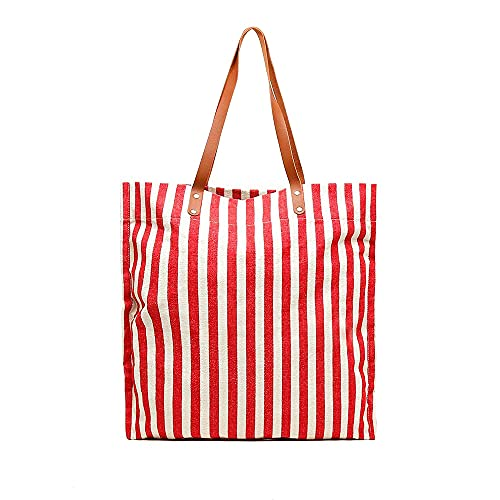 MISAKO Bolso Rafia Mujer KOSTA | Bolso Grande para Playa Rojo Blanco a Rayas de Algodón | Bolso Shopper XXL con Asa de Verano para Mujer 51x50x1cm