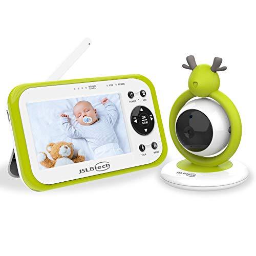 JSLBtech Vigilabebés Inalambrico con Cámara, Monitor de Bebé Visión Nocturna Pantalla LCD de 4.3', Monitoreo de Temperatura, Visión Nocturna, VOX, Comunicación Bidireccional