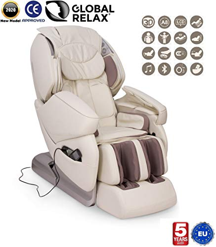 NIRVANA® 3D massagestoel - Beige (model 2020) - Relax massagestoel voor shiatsu met 9 massageprogramma's - Gravity and Wall