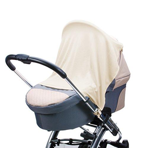 Schlummertuch inklusive Clip- und Klett-Befestigung | für unterwegs | Ruhe- und Schlaf-Abdeckung für Kinderwagen, Babywanne, Babyschale und Buggy | Atmungsaktiv und Leicht | Creme, Ivory