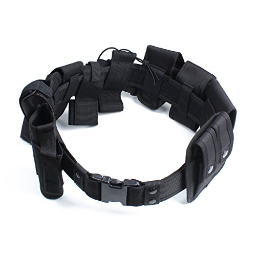 NcDe Tactical Waist Belt with 10pcs Bags Holster Set Law Enforcement Modular Equipment System Security Military Duty Utility Belt Camping Hunting, Sports and Outdoor