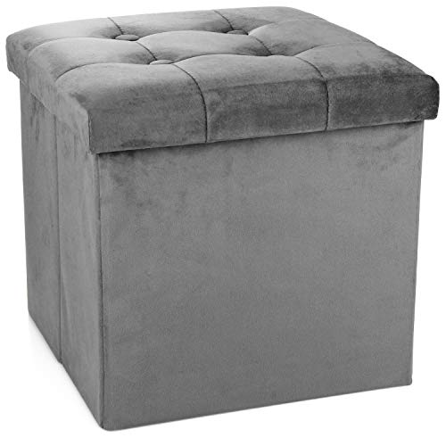 com-four® Hocker mit Stauraum - Faltbarer Sitzwürfel - gepolsterte Aufbewahrungsbox mit Deckel, prima als Sitzhocker, Fußbank, Ablage und Kleiner Fußhocker (grau)