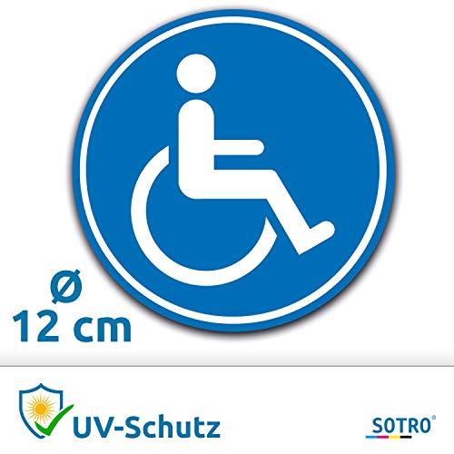 Aufkleber Rollstuhlfahrer Auto, Rollstuhl Symbol/Zeichen, Parken mit Behinderung, Rollstuhlaufkleber, Behindertenaufkleber, Rollstuhlzeichen, Autoaufkleber (Blau, Rund, Ø 12 cm)
