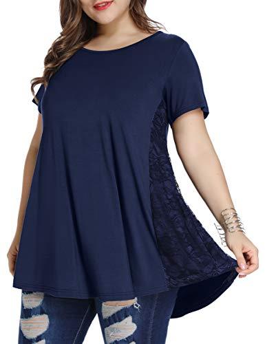 LARACE Women Lace Tunic Top Short Sleeve Flare T Shirt For Leggings(L, Navy Blue)