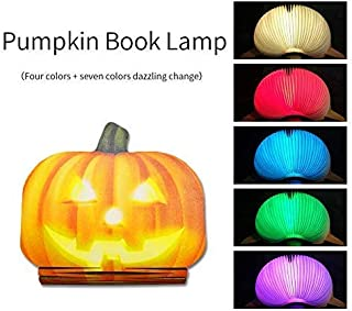 BMQ Night Light Wooden Book Folding Lamp Desk Table Home Décor Kids Bed Lighting (Pumpkin Lamp Light 7 Colors)