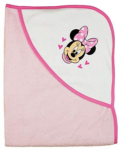 Kleines Kleid Baby- und Kinder- BADE-Mantel mit Minnie Mouse Motiv (rosa oder Weiss), Kapuzen-Badetuch mit Kapuze, Baby-Handtuch aus Baumwolle, Frottee-Poncho, Dusch-Tuch SUPER WEICH Color Rosa