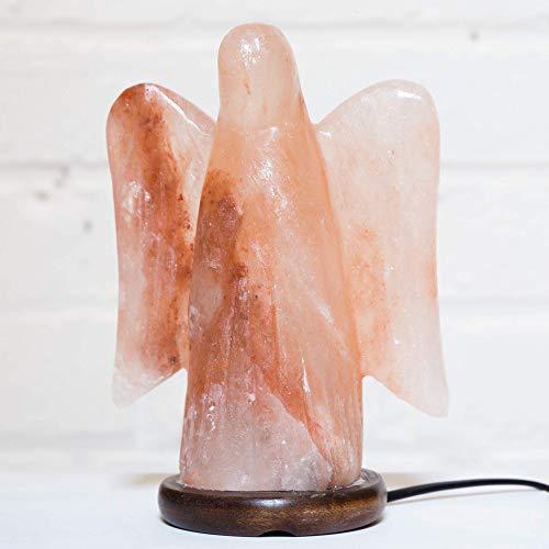 Klass Home Collection Lampe de Nuit en Cristal de Roche de l'Himalaya avec Prise Anglaise USB LED Angel - Angel Lamp ~20cm High