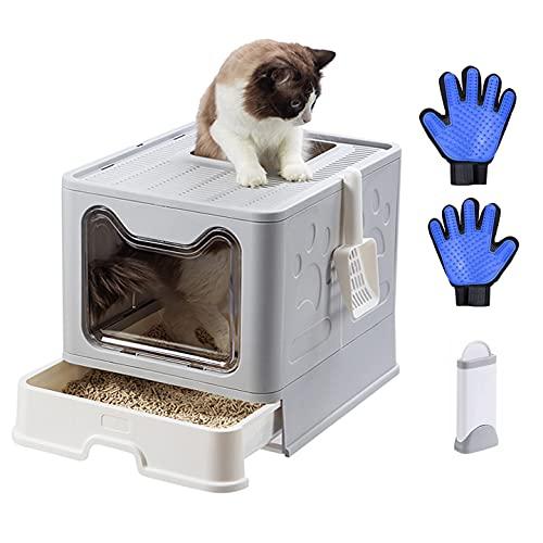 Bandeja de Arena para Gatos con Tapa andeja Grande Plegable Inodoro para Mascotas para Gatos con Entrada Superior(Gris, 51 x 41 x 38 cm)