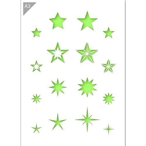 Sternen Schablone - Plastik - A3 42 x 29,7cm - Oben links Stern 5 cm - wiederverwendbare kinderfreundliche Schablone für Malerei, Handwerk, Wände und Möbel