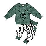 0-4 Años,SO-buts Recién Nacido Niños Pequeños Bebés Y Niños Sudadera Con Capucha De Oso De Dibujos Animados Tops Jerseys Pantalones Conjuntos De Chándal De Otoño (Verde,6-12 meses)
