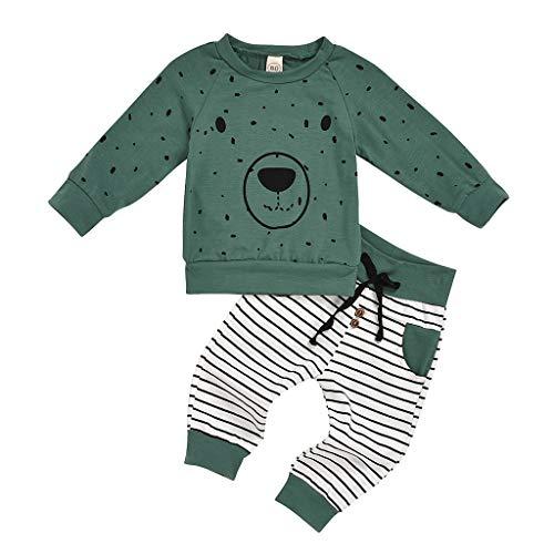 Xmiral Baby Jungen Cartoon Bär Tops + Hosen Outfits Set Langarm Hemd Hosen Kleinkind Kinder Kleidung Set(Grün,3-6 Monate)