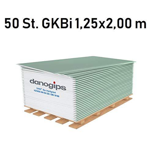 50 St. (= 125 m²) Gipskarton-Platten/Bauplatte imprägniert GKBi (12,5 mm) 1,25 x 2,00 m