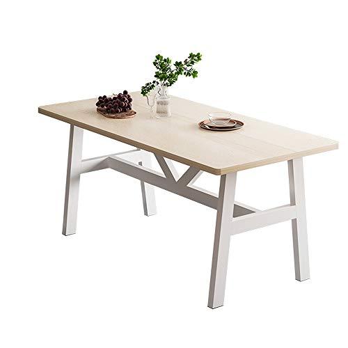 KaminHome - Mesa Comedor Vicky salón Cocina despacho Pata Madera Rectangular diseño nórdico escandinavo Minimalista Moderno (Roble/Blanco (Solo Mesa), 140 cm x 75 cm x 70 cm)