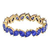 ブライダル結婚指輪 3.3カラット洋ナシ形人工タンザナイトリングジグザグフルエタニティリングブルージェムストーンリング積み重ね可能なアニバーサリーリング彼女へのプロミスリング, 14K イエローゴールド, Size: 7