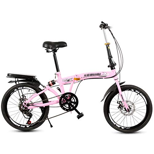 20 Inch Folding Bike for Adult Men and Women Teens, Mini Lightweight Foldable Mountain Bike, 6 Speed, High Carbon Steel, Dual Disc Brakes, Shock Absorber,Pink