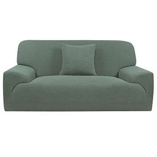 YeVhear Funda de sofá extensible 1 pieza funda de sofá Jacquard antideslizante funda de sofá + 1 funda de cojín protector de muebles para salón cian grande
