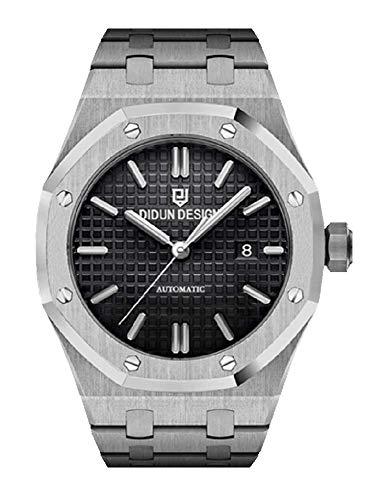 Sportlich Elegante Herren Automatik Uhr, Saphirglas, massives Armband, Miyota Uhrwerk, Didun Royal One Silber/Schwarz