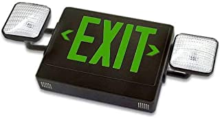 Exit Sign & Emergency Light with LED Combo Units, Compact Design Fully Automatic, Single Face, Green Letters & Black Housing