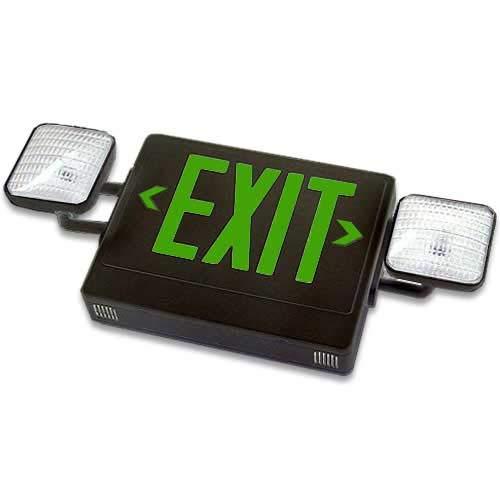 Señal de salida y luz de emergencia con unidades LED combinadas, diseño compacto totalmente automático, una sola cara, letras verdes y carcasa negra