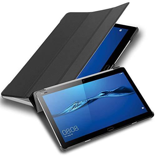 """Cadorabo Tablet Hülle für Huawei MediaPad M3 LITE 10 (10"""" Zoll) in Satin SCHWARZ – Ultra Dünne Book Style Schutzhülle mit Auto Wake Up und Standfunktion aus Kunstleder"""