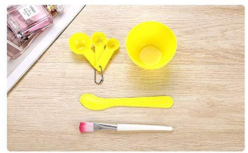 XiZiMi cuillère de jauge de brosse de baton outil de masque facial en plastique avec bol de masque facial Ensemble de bol de mélange de masque facial 4 en 1 pour le mélange de masque de modelage Clay