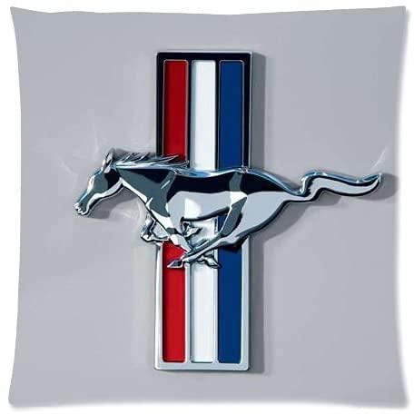 SHAA Funda de cojín cuadrada de lino y algodón, 45,7 x 45,7 cm, diseño de Ford Mustang Pony