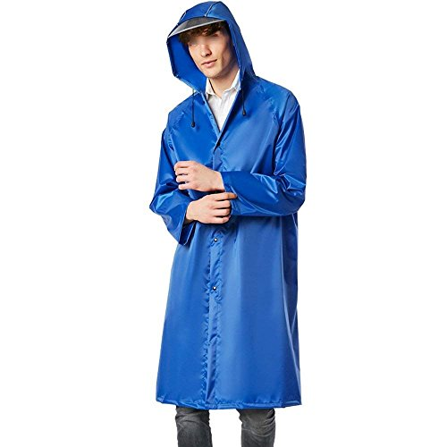 Regenponcho Herren Casual Poncho Normallacks Langarm Kapuze Mit Tunnelzug, Lang Jungen Hipster Regenjacke Regenmantel (Color : Blau, Size : M)