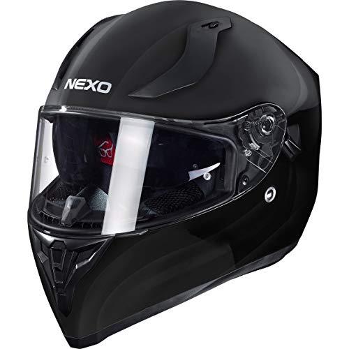 Nexo Integralhelm Motorradhelm Helm Motorrad Mopedhelm Sport II, herausnehmbare Polster, mehrfache Be-, Entlüftung, Windabweiser, klares Visier, Ratschenverschluss, Gewicht: 1.350 g, Schwarz, L