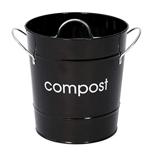 Premier Housewares - Cubo para compost, color negro