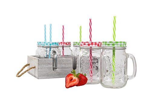 Mason Jar Glass Cups with Handle