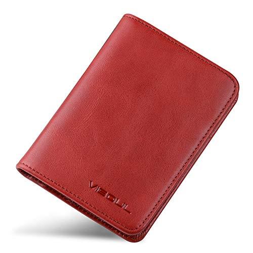 VISOUL免許証ケース二つ折り免許証入れカードケース牛革カード入れ分離式本革カードケース定期入れメンズレディースパスケースイタリア革中ベラ付きミニ財布薄型カードケース軽量ケースオシャレ(レッド)