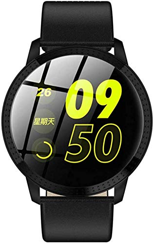 YSSJT Reloj inteligente de pantalla redonda, pulsera inteligente con frecuencia cardíaca, presión arterial, Bluetooth, impermeable, pantalla de color 1.3, correa de piel, color negro