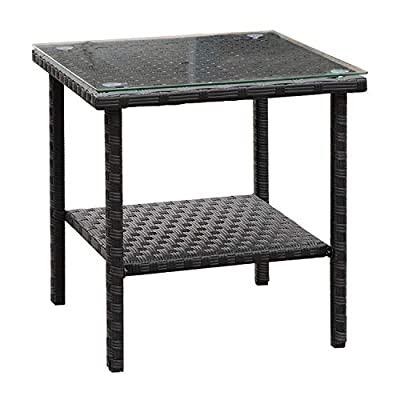 Outdoor Wicker Glass Top Side Table - Patio Rattan Square End Table, Black