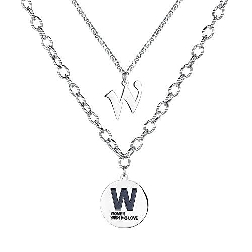 Collar de viento frío letra W colgante de tarjeta redonda cadena de suéter salvaje coreano collar de acero de titanio de doble capa para mujer