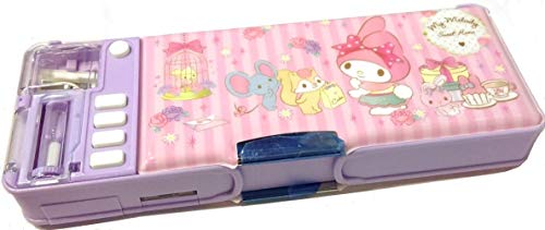 My Melody Glitter Patterns Multi Functional 2-Sided Holder Pencil Pen Box Deluxe Case w/Sharpener Timetable