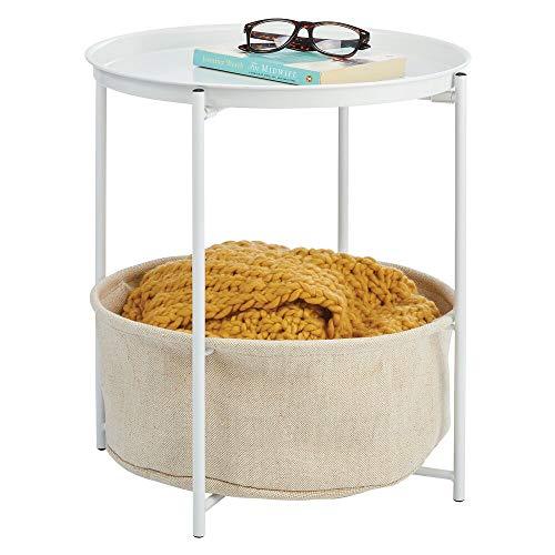 mDesign Beistelltisch mit Ablagekorb – runder Nachttisch mit herausnehmbarem Korb aus Metall und Polyester – moderner Flur- oder Wohnzimmertisch für Bücher, Lampen und mehr – weiß