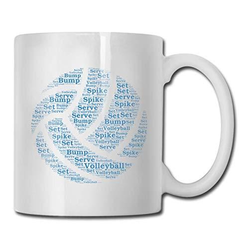 Taza con palabras de voleibol, taza de café para bebidas calientes, taza de gres, taza de café de cerámica, taza de té de 11 onzas, divertida taza de regalo para té y café
