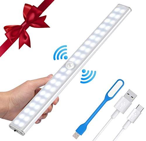 USB Luz de Armario con Sensor de Movimiento LED Luz Nocturna Luces Armario LED Closet Light 40 LED Cabinet Light USB Regulables Táctiles de luz LED,Lampara de Noche,Armario,Cocina,Pasillo,Escaleras