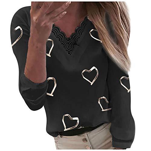 Damen Pullover Langarm V-Ausschnitt Herzen Drucken Bluse Tunika Tops,Frauen Casual Spitze Patchwork T-Shirt Sexy Oberteile Sommer Freizeit Slim Fit