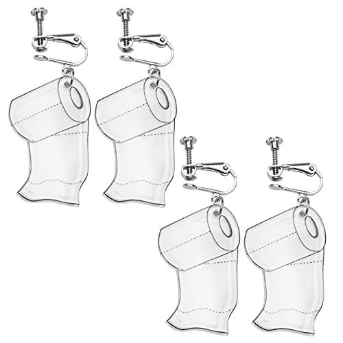 LIXBD Lot de 4 boucles d'oreilles en forme de rouleau de papier toilette faites à la main en acrylique avec perles pour boucles d'oreilles en papier 2020 pour femmes et filles (Couleur : blanc 1)