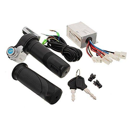 FOORDAY - Controlador de Velocidad de Cepillo para Motocicleta + Mangos giratorios para el Acelerador de Scooter con Llaves para Motocicleta, Partes eléctricas Impermeables 24 V 250 W