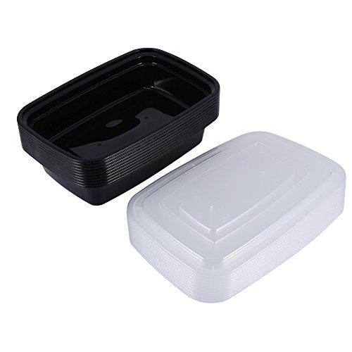 Maaltijd Bereiden Containers, Plastic Voedsel Opslag Laden 1000 ml met Luchtdicht Deksels Voedsel Rang Microwavable Diepvries en Vaatwasser Beschikbaar Dineren Doos 10 Inpakken (Zwart)