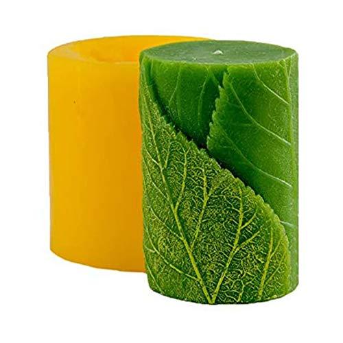 bozitian Molde para velas en 3D, diseño de hojas cilíndricas, para hacer jabón, para decoración de tartas, fondant, chocolate, dulces, hornear, para bodas, baby shower, cumpleaños, manualidades