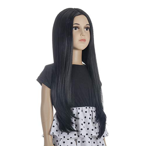 Morticia Long Straight Middle Parting Girls and Kids Halloween Costume Pretend Play Wig (Black)