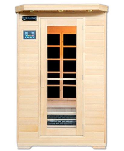 Artsauna Infrarotkabine Oslo mit Flächenstrahler | 2 Personen | Hemlock Holz | 120 x 100 cm | Infrarotsauna Sauna Kabine Infrarot Wärmekabine