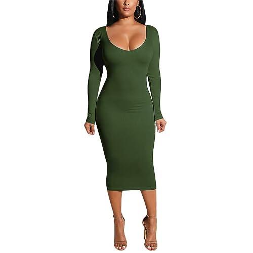 fe3faa85bd947 Women's Long Sleeve Bodycon Dresses - Elegant Hollow Out Solid Slim Midi  Dress