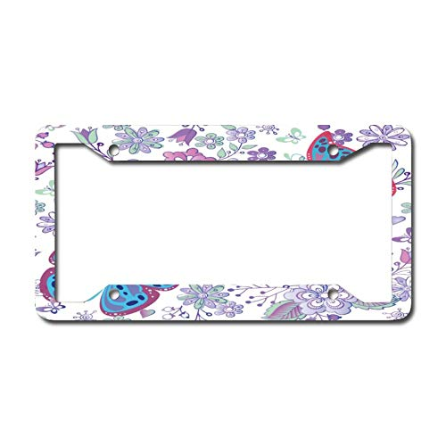 Custom License Plate Frame for Front Car, Blue Butterfly Personalized License Plates, Vanity Metal Novelty License Plate Tag Sign 6.3 X 12.2 Inch